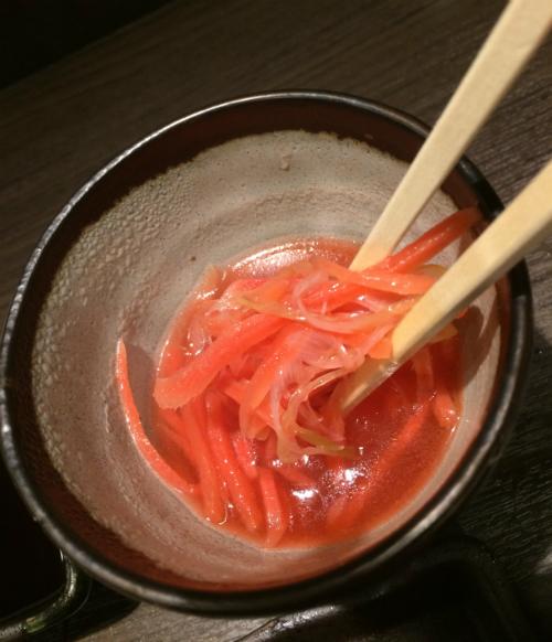 十条の馬肉居酒屋、馬ござるの紅しょうがスープが美味しい