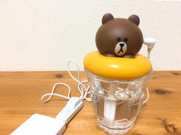 USB加湿器ブラウンの準備オーケー