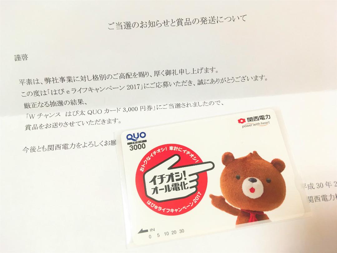 関西電力のアンケート企画でQUOカードが当たりました