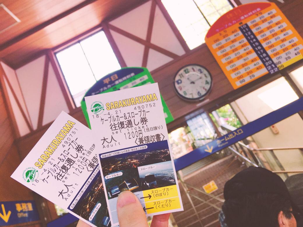 皿倉山ケーブルカーとスロープカー往復券を購入