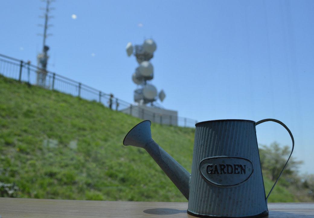 皿倉山の頂上にある展望台カフェで休憩