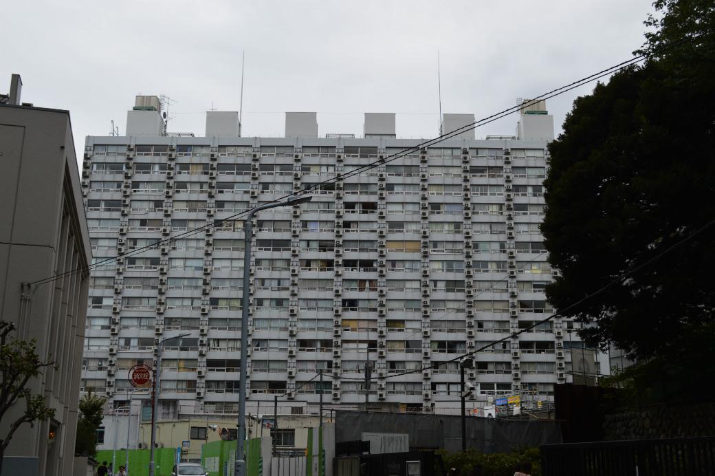 旧岩崎邸庭園側から見た湯島ハイタウンA棟