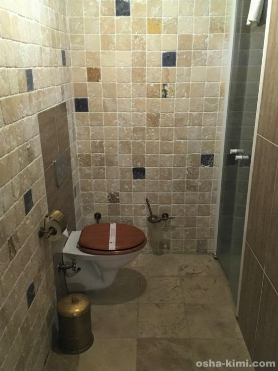 ギョレメの洞窟ホテル「ミスラケーブホテル」のトイレとシャワールーム