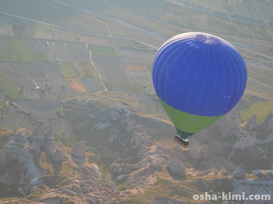 ゆっくりと地上へ降りていく気球